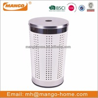 Stainless Steel Cover PP Bottom Colorful Cone Metal Laundry Basket