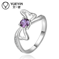 Fashionable Love Marks Silver Plated Purple Stone Lady Midi Ring