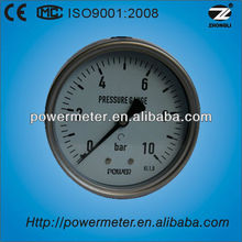 "4""(100mm) all stainless steel 10bar wika bourdon tube pressure gauges"