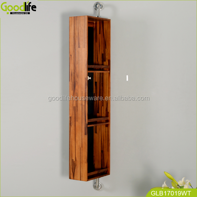 Goodlife Teak wood Bathroom cabinet wooden corner shelves for bath cream