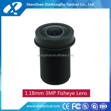 1/4 inch f2.0 1.18mm Fixed Iris m12 fisheye lens for mini camera