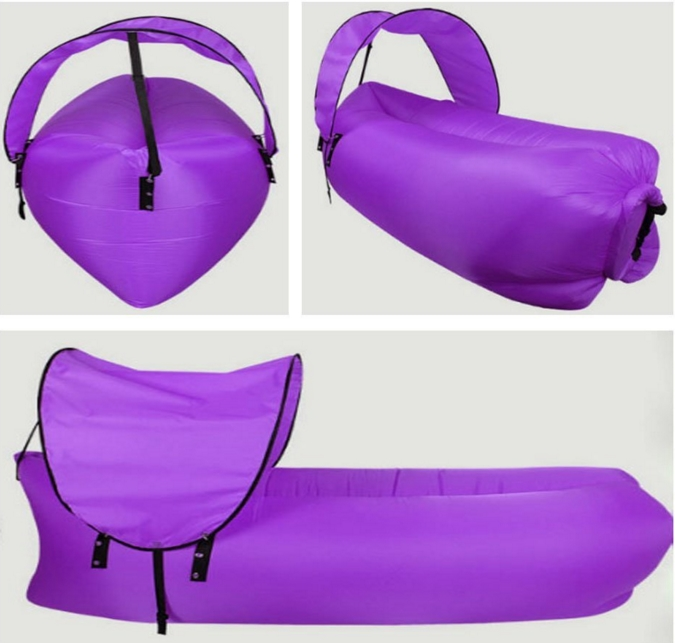 Inflatable Air Sleeping Laybag Lazy Camping Hangout Sofa Bed Beach Lay Bag