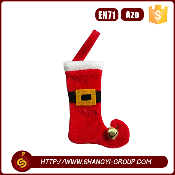 Promotional mini christmas red elf stocking with bell
