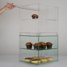 Hot Sale Clear Acrylic Cheap Glass Cupcake Stand Two Tiers Pastry Cake Display Case