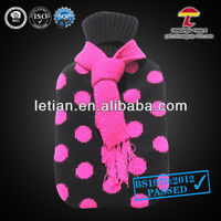 good quality 1000ml natural rubber hot water bag cover with a scarf and spots printed in peach-pink colour
