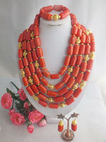 W-647 Amazing Fashion Drum Strands Coral Jewelry Set African Wedding Necklace