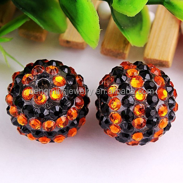 2015 Hot selling!! AAA Quality bulk chunky loose Halloween resin rhinestobne black/orange strips beads for necklaces making!