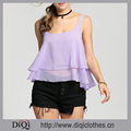 Latest Design Summer Wholesale Purple Ruffles Sleeveless Spaghetti Strap Sexy Chiffon Beach Camisole