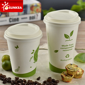12oz white compostable pla coffee cups disposable paper cups with PLA lid