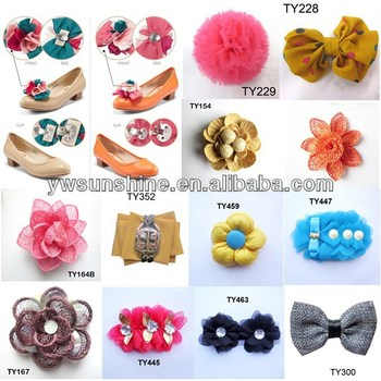 Wholesale chiffon fabric and PU leather flower for shoe accessories 2015