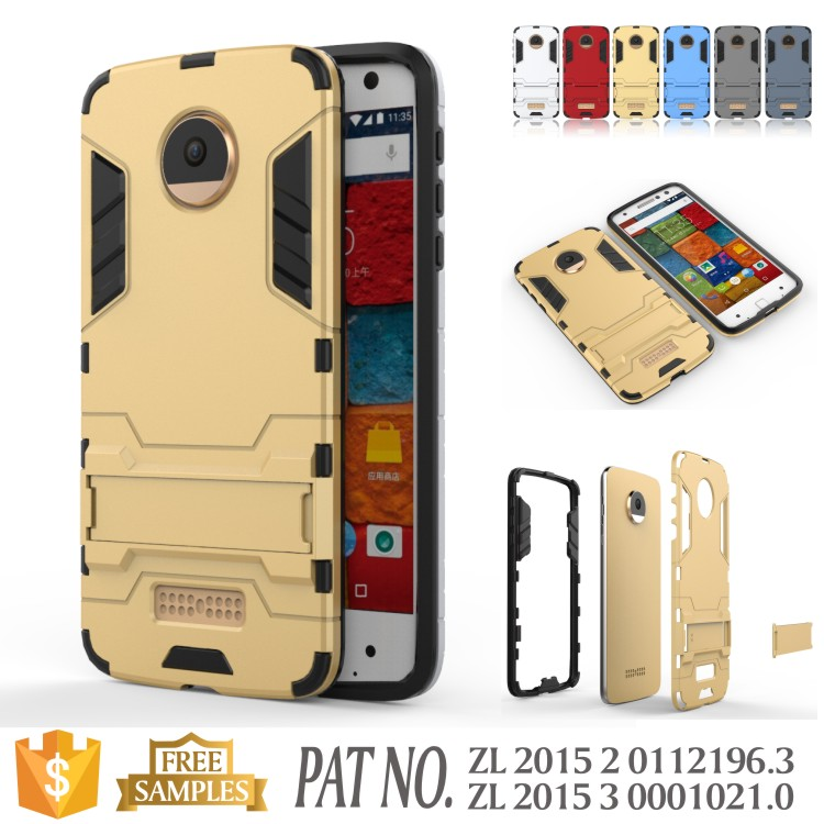 Iron man Combo TPU+PC kickstand case cover for motorola moto Z
