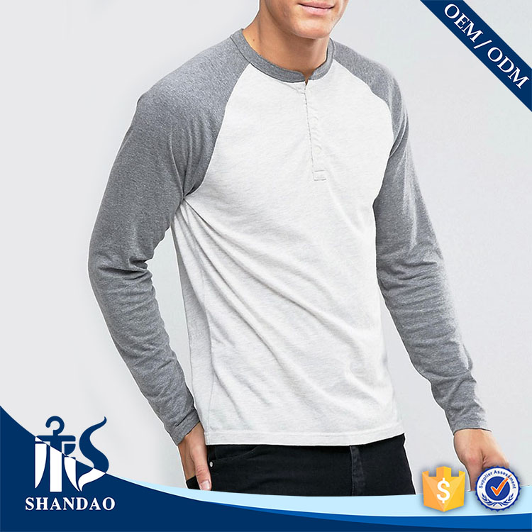 Guangzhou shandao factory casual o-neck long sleeve180g 100%cotton men baseball tee