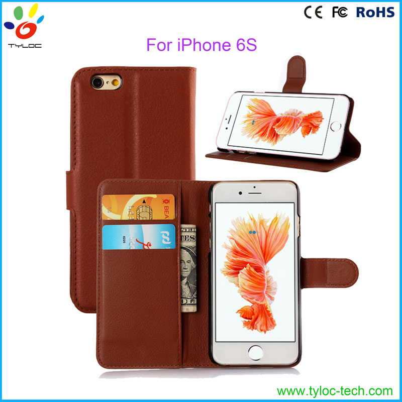Universal PU leather smart phone wallet style case for Iphone 6 credit card case