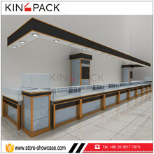 Professional jewellery shops mall kiosk interior design images with mirrored jewelry cabinet display set for sale