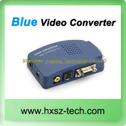 PC VGA to TV AV Composite RCA S-Video Converter switch Box Blue with Premium VGA Cable
