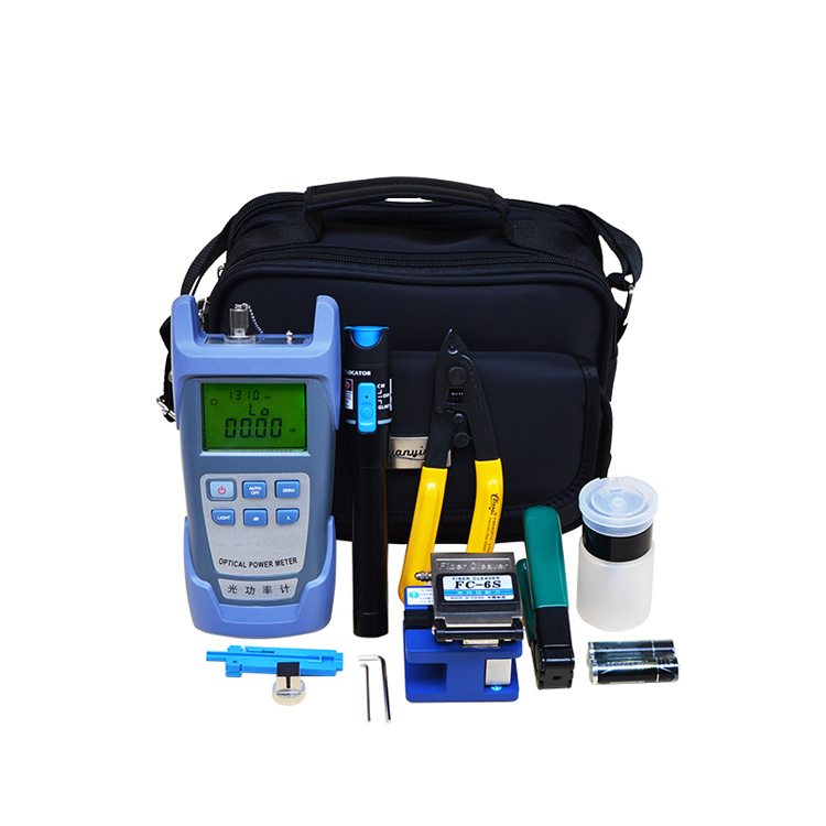 FTTH Fiber Optic Tool Kit with Optical Power Meter and Visual Fault Locator and Fiber Cleaver