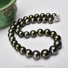 925 silver clasp Tahitian jewelry necklace pearl with natural black pearls very slightly blemished 9-11mm good luster