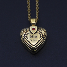 Heart With Wings Miss You Gold Plated Antique Jewelry Stainless Steel Heart Shaped Cremation Necklace