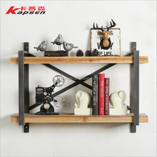 Home Decorative Wall Shelf Furniture Storage Holders Solid Wood Iron Design Organizer Shelf