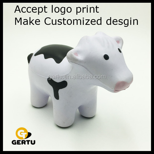 Promotional logo printed foam cow anti stress ball