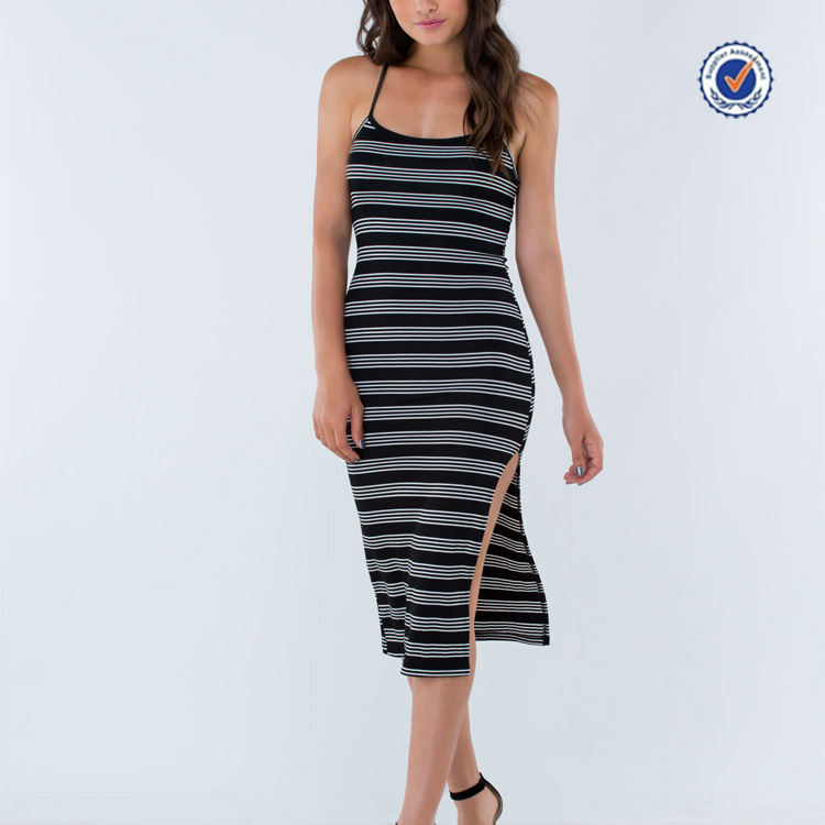 Spaghetti straps sleeveless striped print one side slit sexy ladies casual dresses pictures 2015