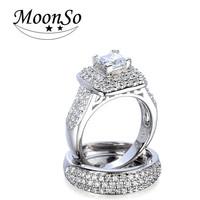 Wholesale European fashion wedding zircon high quality rodium plated couple ring MOONSO AZR5612