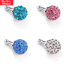 Factory Wholesale Price Colorful Bling Diamond Cell Phone 3.5mm Earphone Jack Anti Dust Plugs