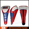 Custom USA Flag Zipper Leather Golf Head Covers, golf driver head cover, golf wood head cover