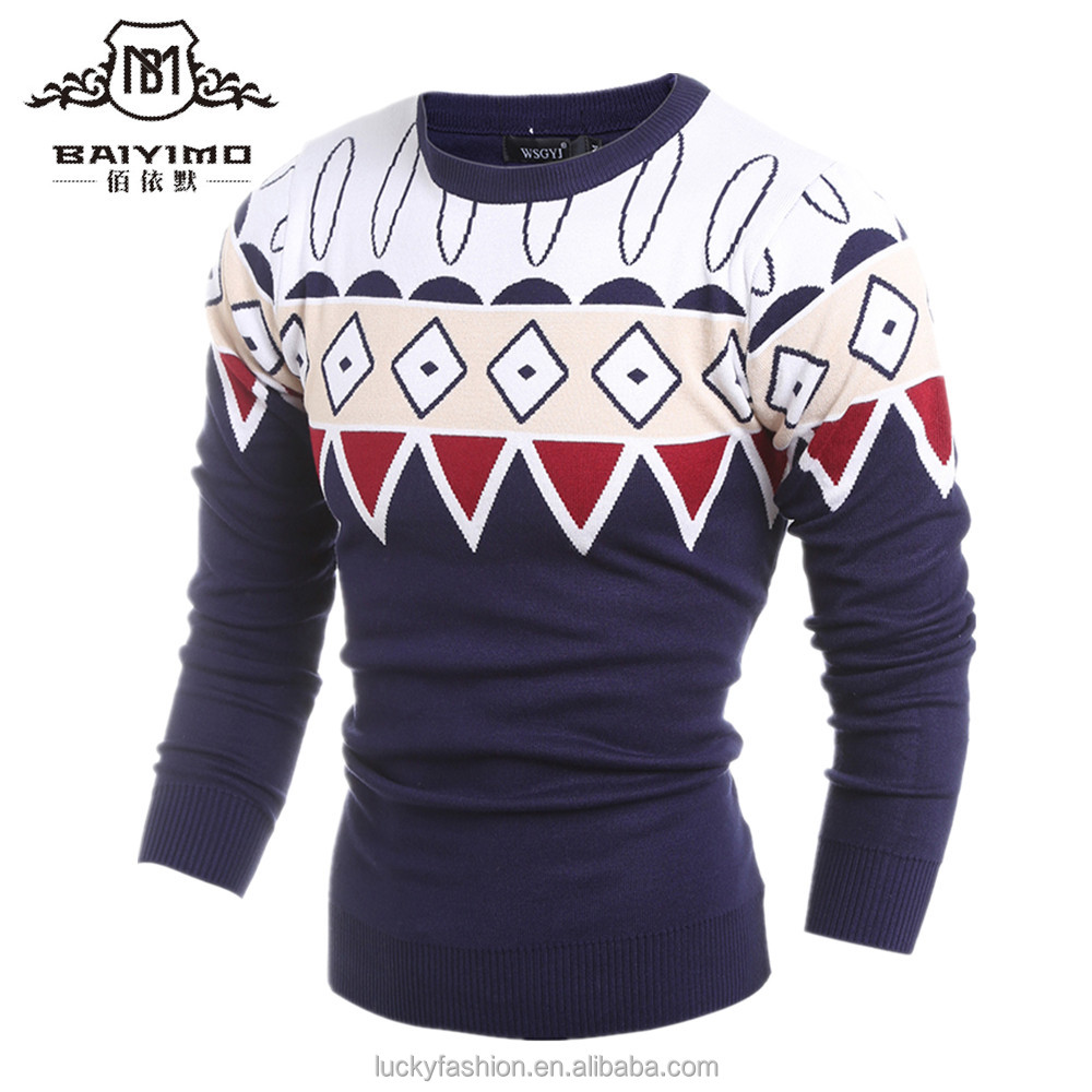 Fall Casual Man Sweater Custom Design Pattern Pullover O-Neck Knitwear
