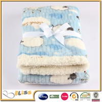 2ply flannel fleece+sherpa blanket/bedding sheet/baby cuddles quilted sherpa blanket
