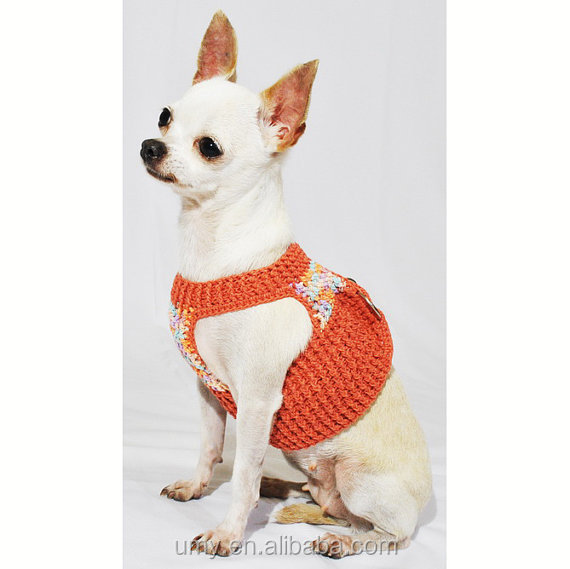 Velcro Dog Harness Vest Handmade Crochet Earth Colorful Pet Leash Comfy for Puppy Teacup Chihuahua