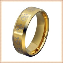 Gold Male Symbols Gay Pride Steel Ring Male Gay Pride Ring band for Gay Men. Rainbow Pride Jewelry. Gay Gift