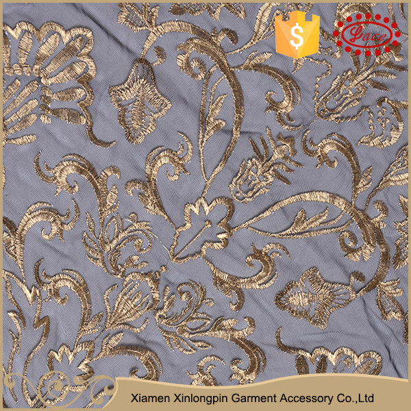 Popular design fashion pattern custom wide golden embroidery curtain lace fabric for sale