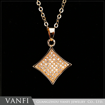 2017 Trending Jewelry Costume Design Gold Plated Vogue Square Pendant Necklace