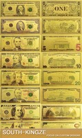 Business gifts 24k gold printing full set US dollars 1/2/5/10/20/50/100 bank note