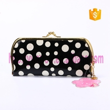 Leopard round corner dot printing pvc wallet for lady