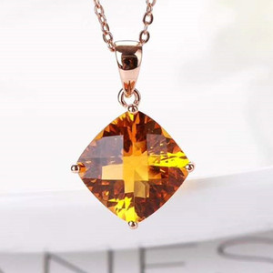 hot sell crystal gemstone jewelry wholesale trendy 18k real rose gold natural yellow citrine pendant necklace for women