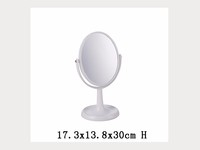 Deft Design Plastic Frame Small Round Make Up Mirror with Base