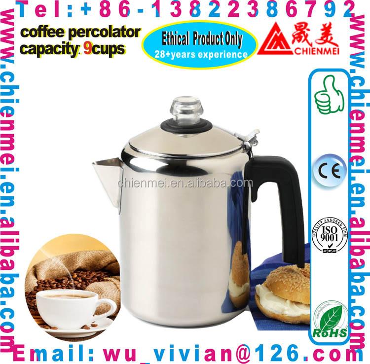 Blue enamel coffee pot with percolator