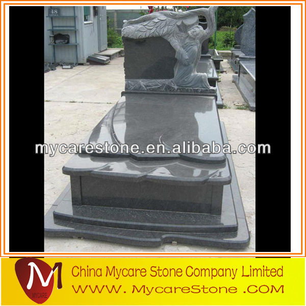 black granite gravestone in European style