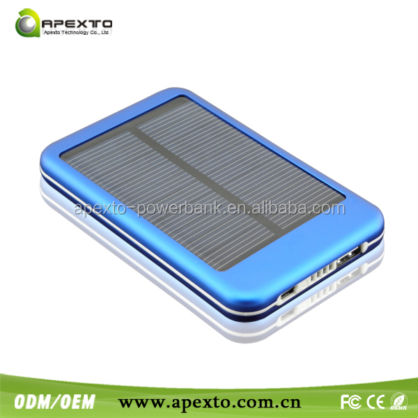 2018 newest 5000 mAh portable mobile power bank Solar mobile power bank for samsung from China factory