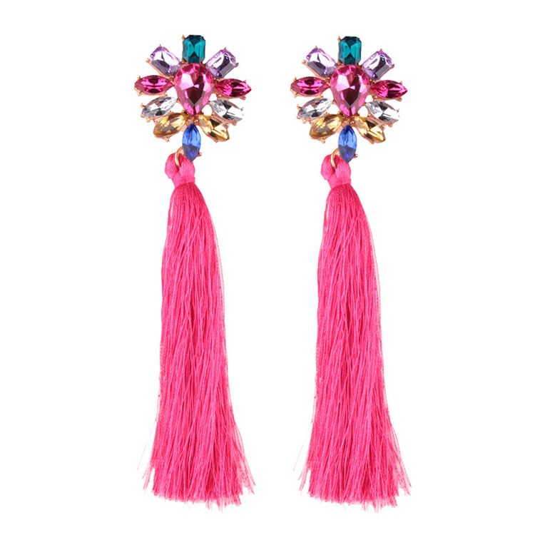 Hot Sell NEW Women Fashion Acrylic Flower Shaped Long Tassel Dangle Earrings Silk Thread Earrings