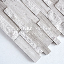 gray wood marble mosaic strip 3D design for fire place