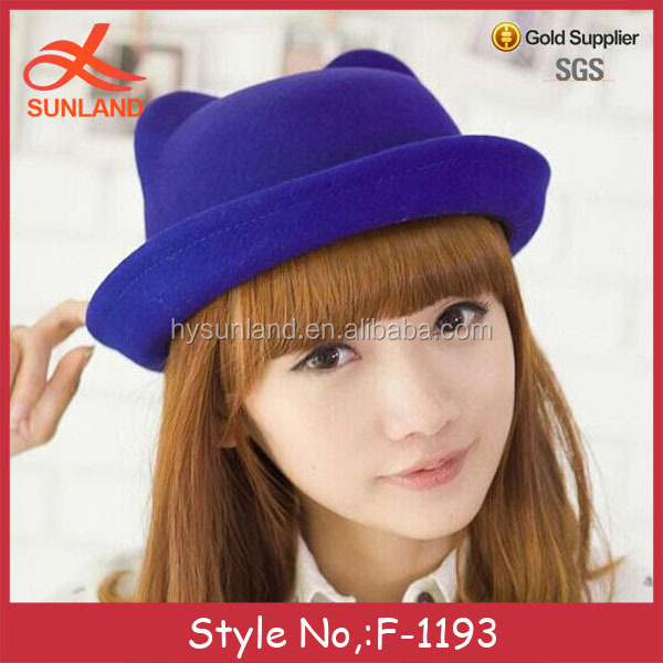 F-1193 women fashion cat ear hat wool cute open top hat colorful for 2016 spring