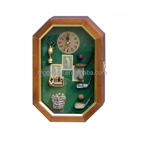 Wooden golf box,Shadow box with clock, cabinet,Gifts, Souvenir,Handicrafts,Decor,Crafts,Home Decoration