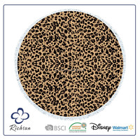 life is good round beach towels with leopard