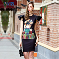 Digital printing bodycon bandage ruffle cuff dress