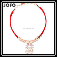 Charms Fashion Chinese Old Style Word Lovers Bracelet With Red Rope JDJ0023