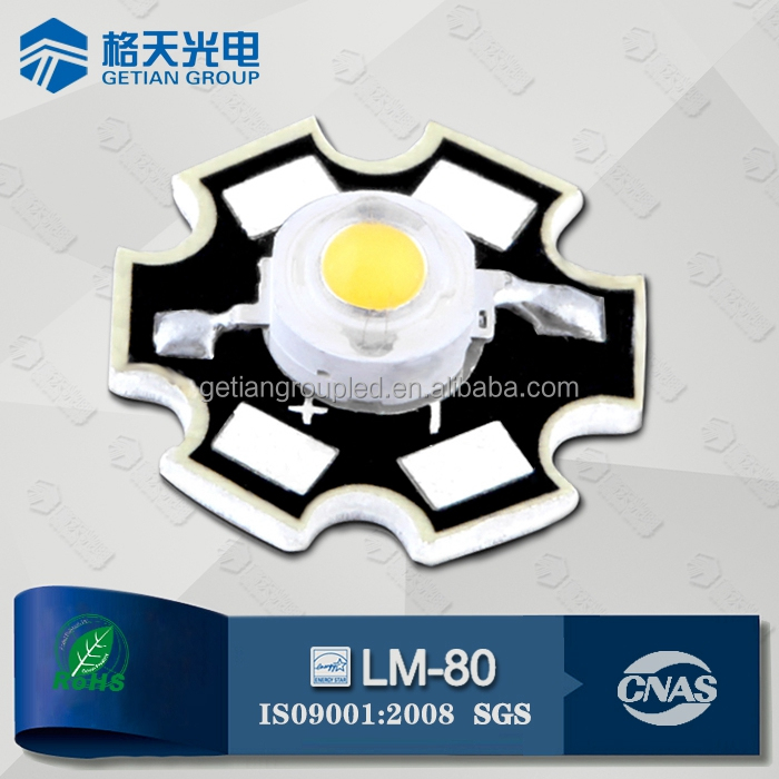 Epistar 130-140LM Natural White 1W High Power LED with Star PCB