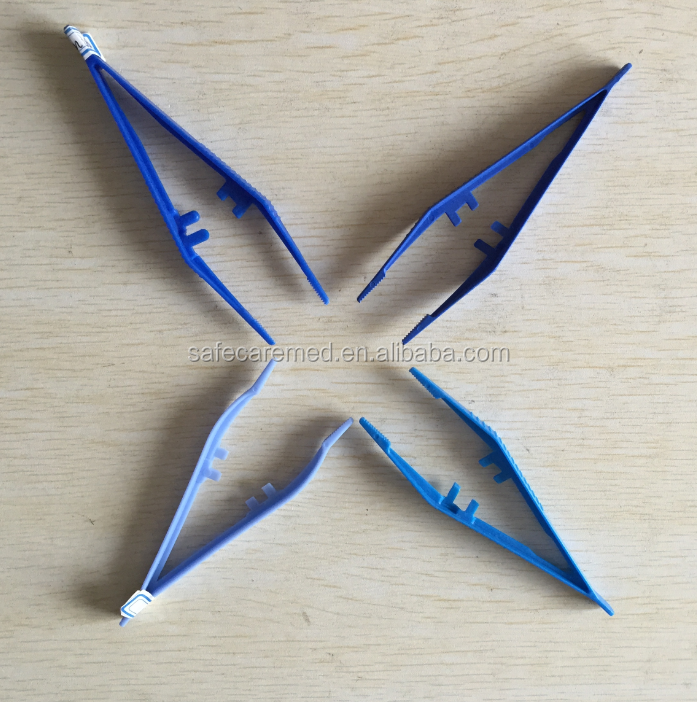Disposable sterile medical plastic tweezers surgical forceps